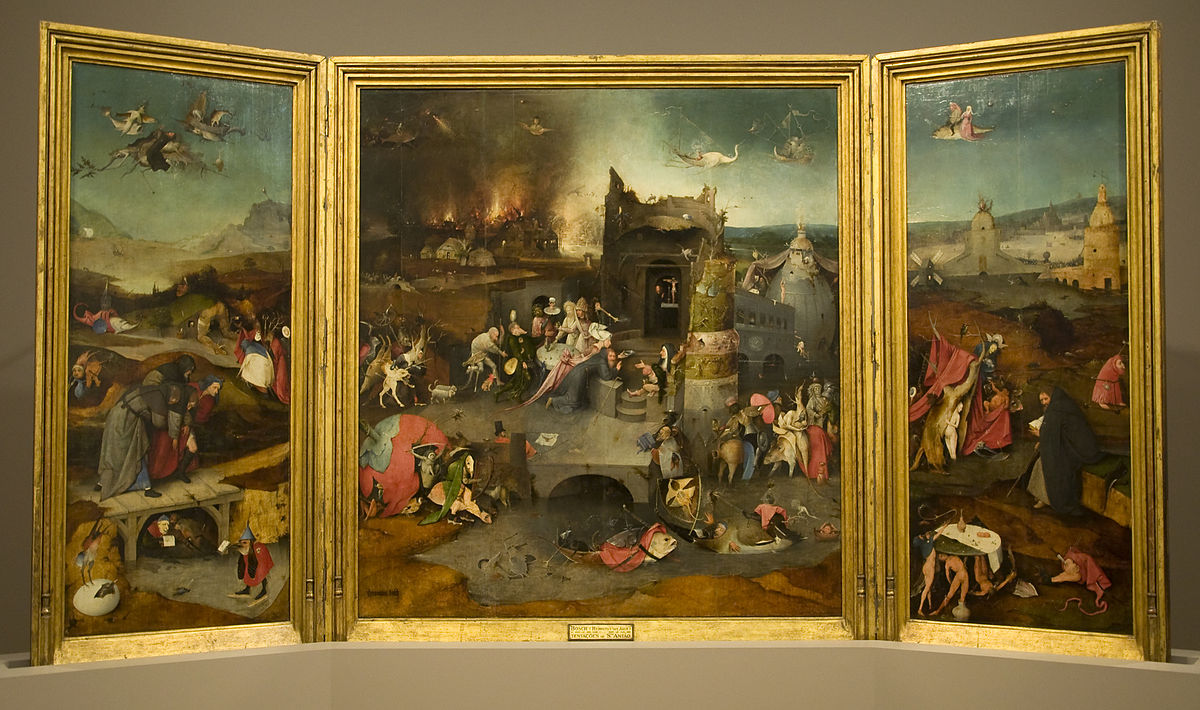 The Temptation Of St Anthony, Hieronymus Bosch, 1501, Oil on panel, 131 cm × 228 cm, Museu Nacional de Arte Antiga, Lisbon