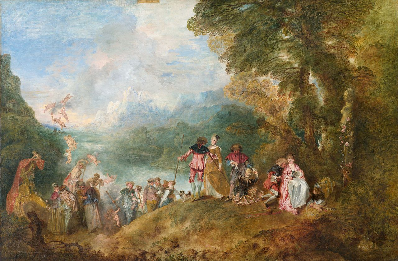 The Embarkation for Cythera, Jean-Antoine Watteau, 1717, Oil on Canvas, 129 x 194 cm, Louvre, Paris